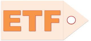 "Letters ""ETF"" in Bright Orange Colour inside a tag"