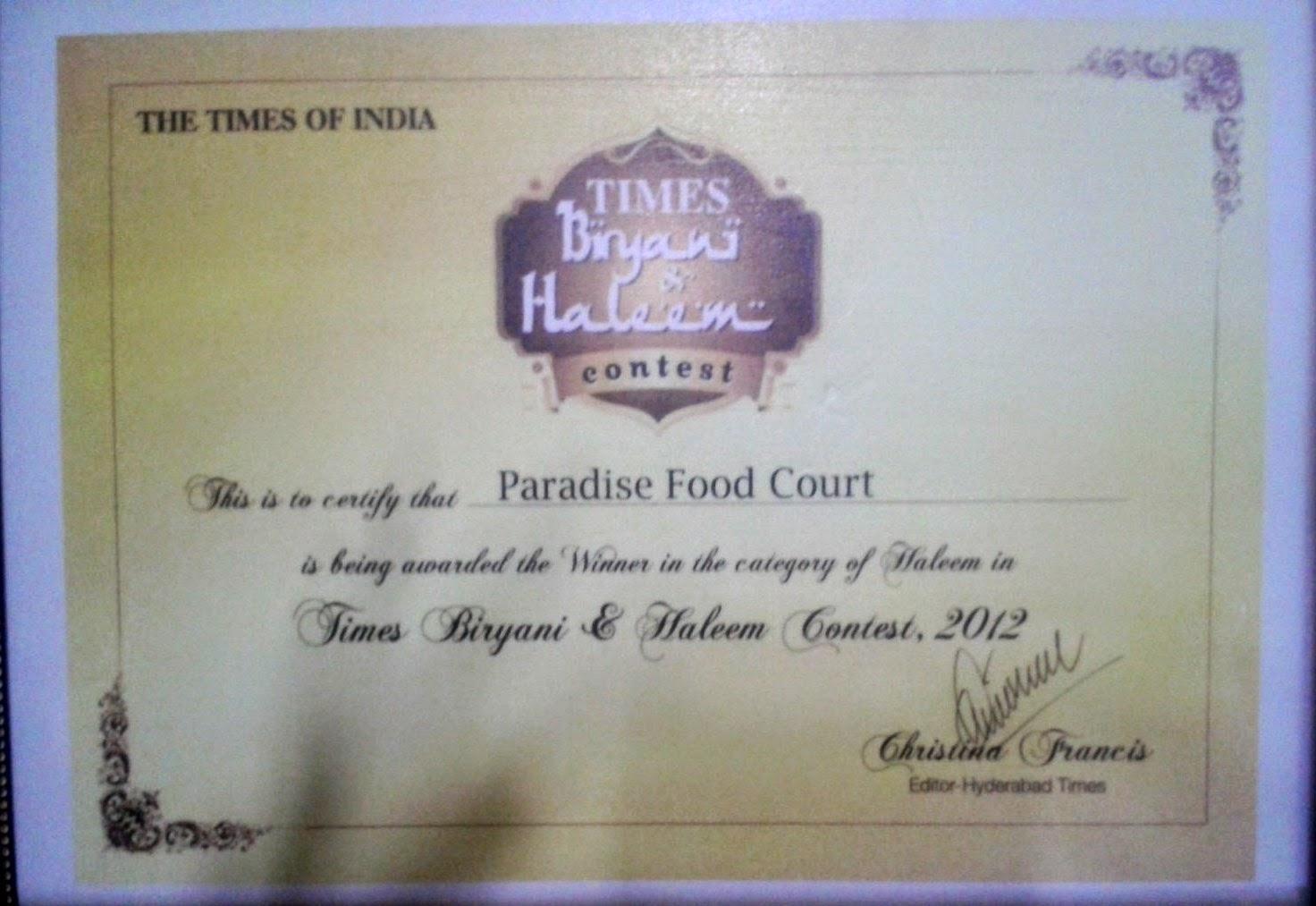 Foodaholix haleem Paradise certificate