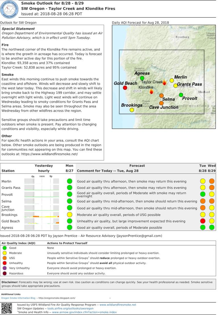 smoke outlook update for southwest oregon taylor creek and klondike fires for tuesday and wednesday aug 28 29 2018