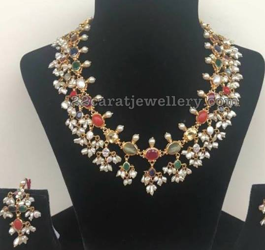 Navaratan Stone Guttapusalu Necklace