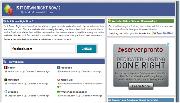 Singh Vikash blog: How to check whether a Website is up or down?