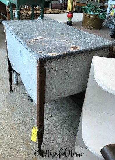 vintage galvanized sink on wheels