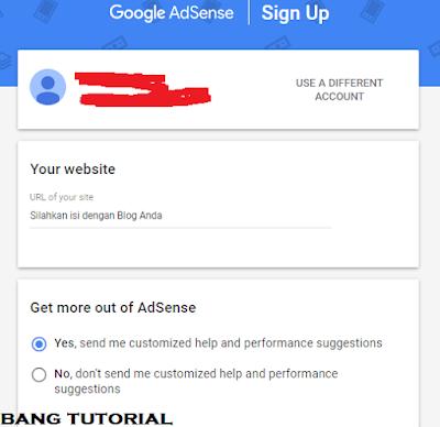 Memasukan Link Blog Untuk Mendaftar Adsense