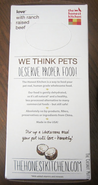 Love with ranch raised beef. we think your pets deserve proper food! The Honest Kitchen box side