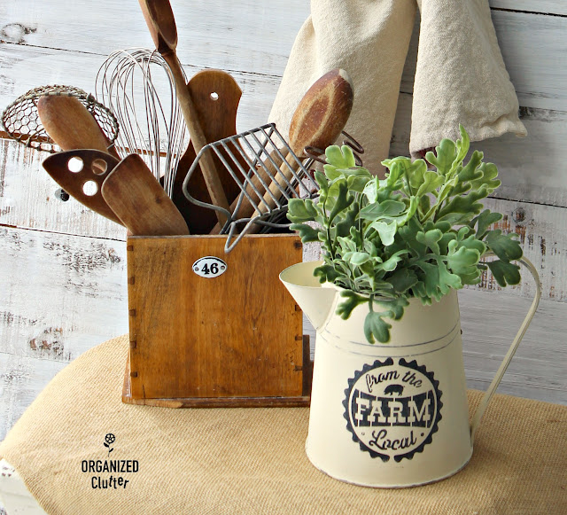 Farmhouse Style Upcycled Thrift Shop Metal Pitcher #stencil #thriftshopmakeover #chalkedpaint #hobbylobbystencil