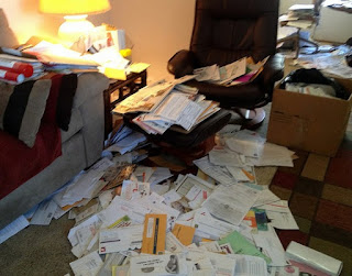 European Professional Organizer Houston, overwhelmed by paper junk