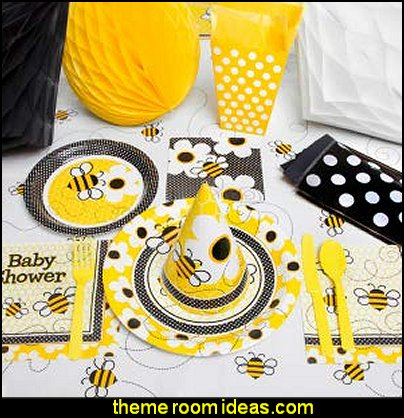 Bumble Bee party tableware  bee themed party - bumble bee decorations - Bumble Bee Party Supplies - bumble bee themed party - Pooh themed birthday party - spring themed party - bee themed party decorations - bee themed table decorations - winnie the pooh party decorations - Bumblebee Balloon -  bumble bee costumes