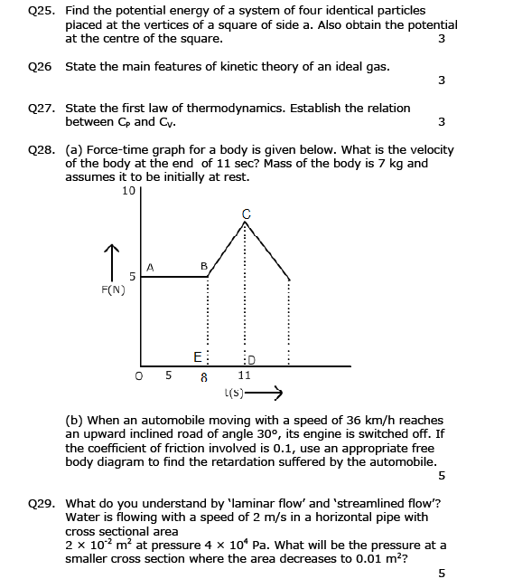 CBSE  SAMPLE PAPER OF PHYSICS CLASS 11