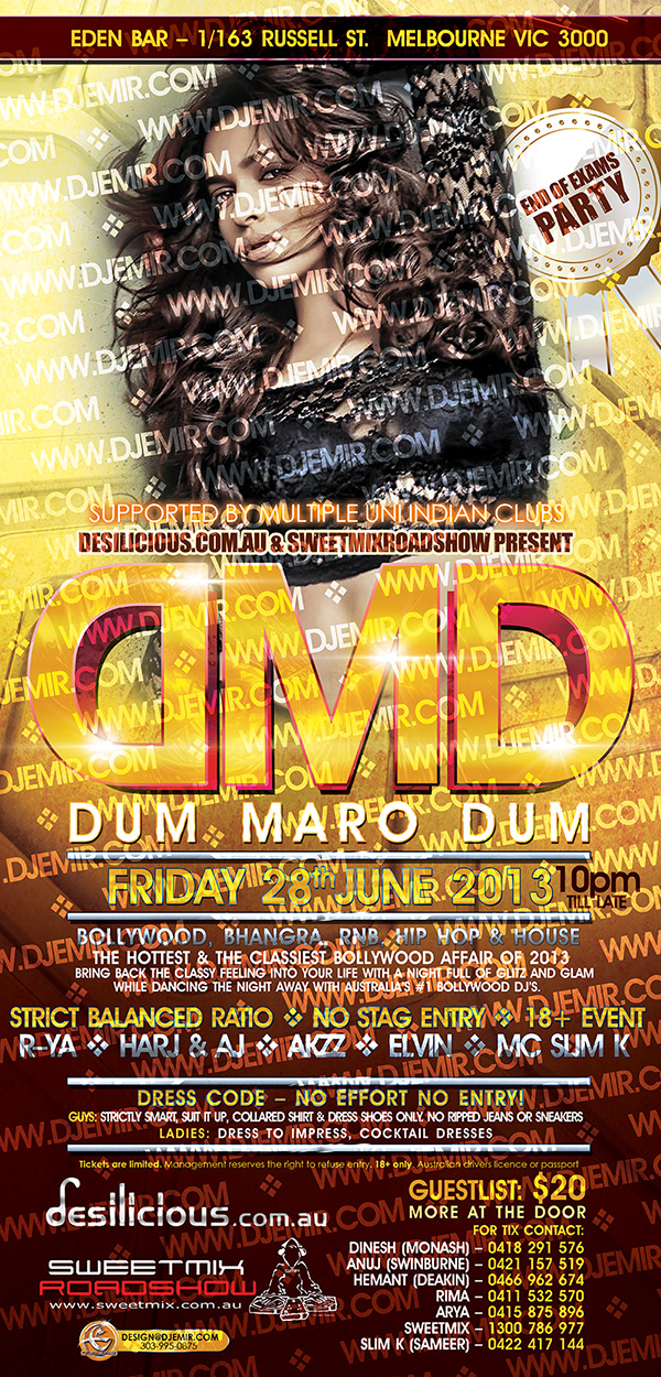 Sweetmix Road Show DJs DMD Dum Maro Dum Bollywood and Bhangra Event Melbourne Australia Flyer Design