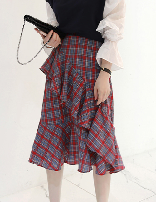 Asymmetrical Frill Check Skirt
