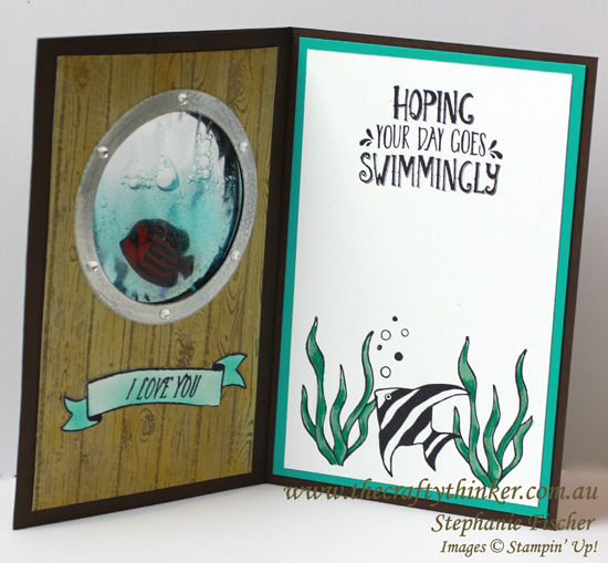 Stampin up, #thecraftythinker, Seaside Shore, Underwater Gel Card, Masculine card, Stampin Up Australia Demonstrator