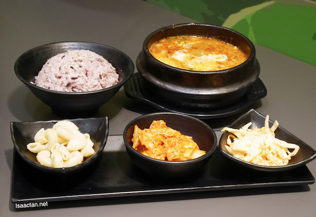 The set which comes with 3 banchan (side dishes) and DubuYo rice