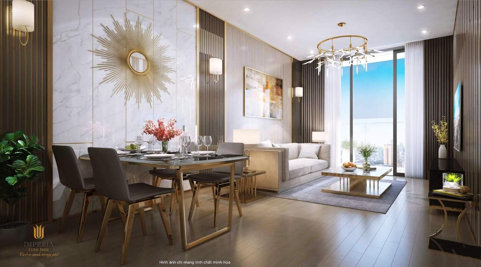 Phòng khách căn hộ mẫu chung cư Imperia Eden Park