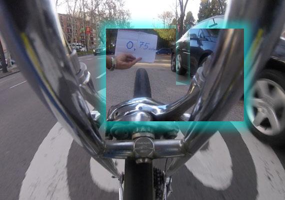 Estimación de la distancia a un coche con vídeo, 75 cm lateral
