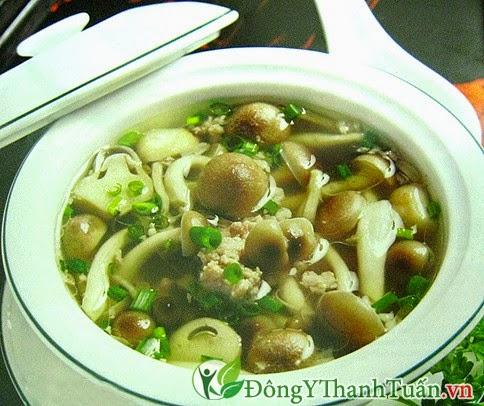 Món ăn chữa bệnh đau dạ dày - Canh nấm nấu thịt nạc
