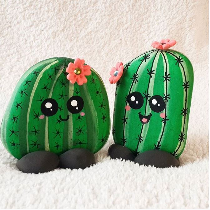 Hy Cactus Rock Painting Idea