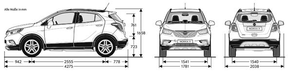 Opel Mokka x 2016-2017 Dimensioni e Misure bagagliaio