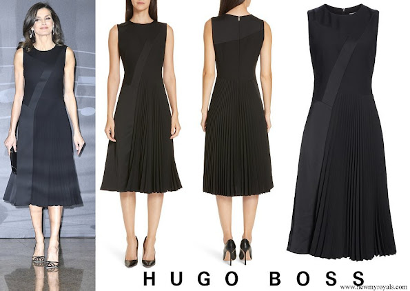 Queen Letizia wore BOSS Micro Sleeveless Plisse Dress