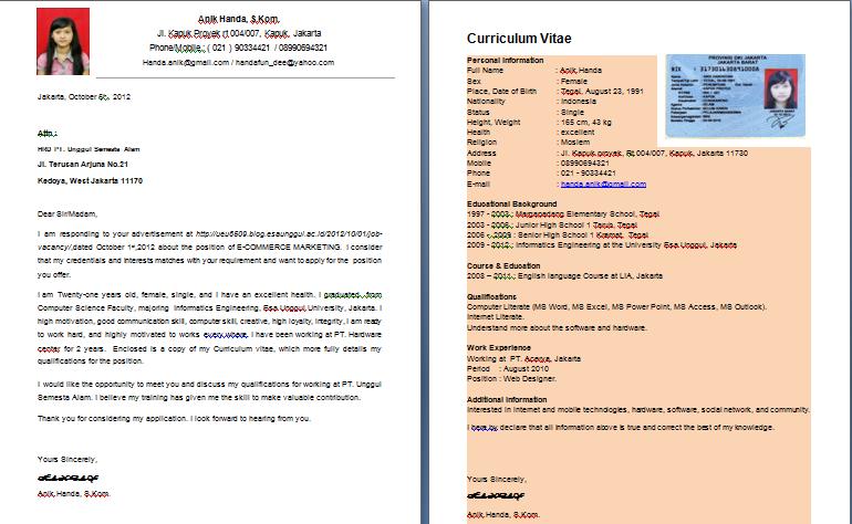 Format Penulisan Curriculum Vitae Contoh Curriculum Vitae Mocalover Contoh Application Letter And Curriculum Vitae My Life My