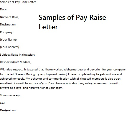Pay Raise Template salary increase proposal sample pay rise – Pay Rise Letter to Employee