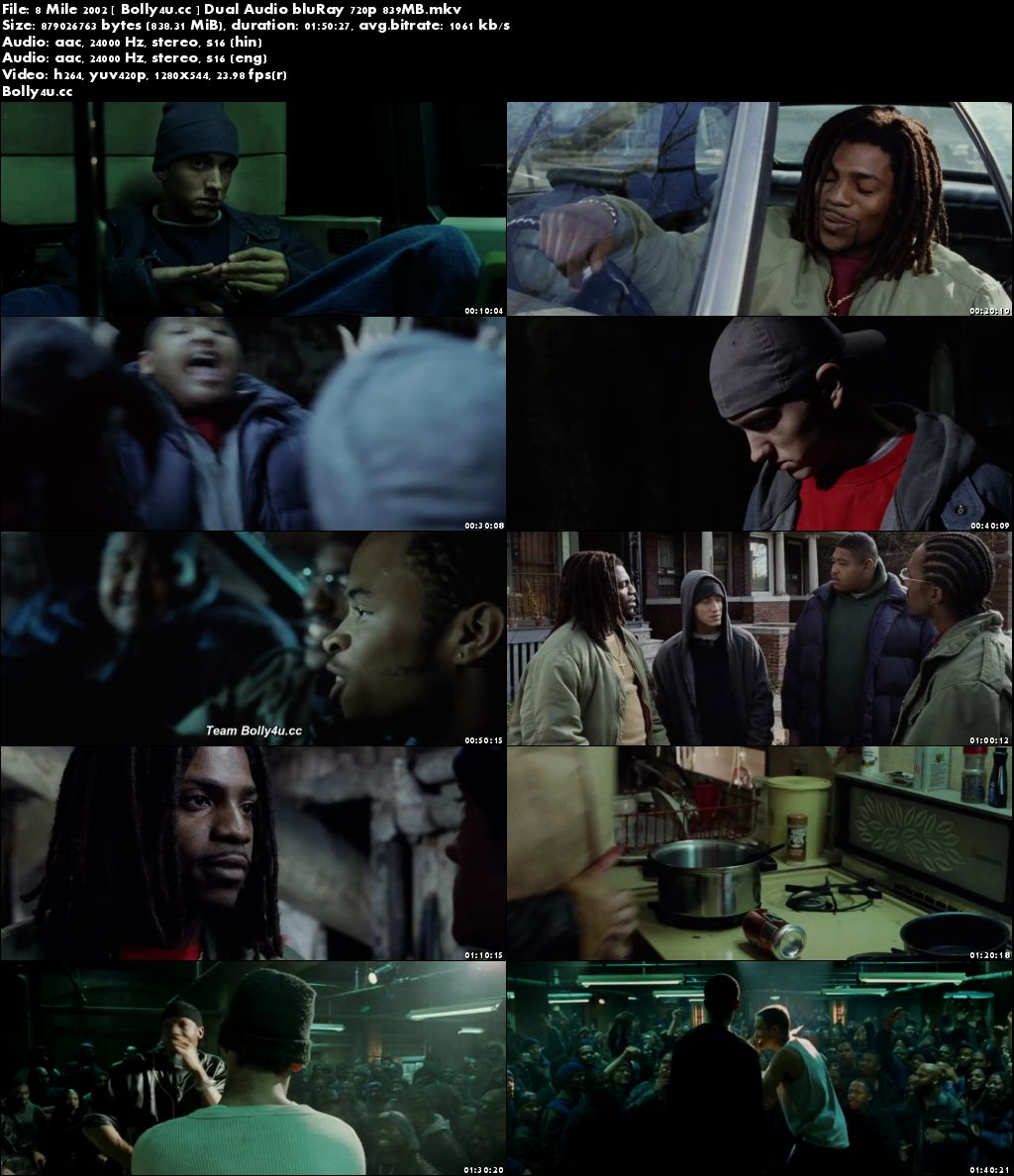 8 Mile 2002 BluRay 800MB Hindi Dual Audio 720p Download