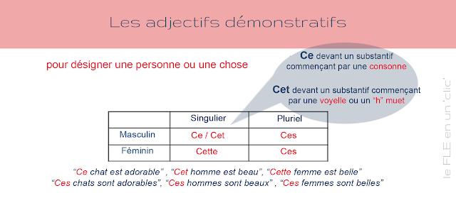 les adjectifs démonstratifs, infographie, FLE, le FLE en un 'clic', grammaire