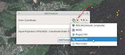 QGIS Lat Lon Tools Add Features Cpecify CRS Coordinat system выбор системы координат
