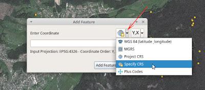 QGIS Lat Lon Tools Add Features Cpecify CRS Coordinat system выбор системы координат
