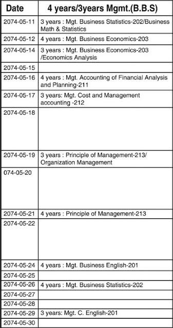 BBS Exam Dates 2074 New and update