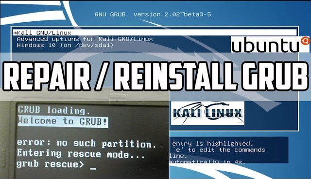 Grub Rescue : Repair, Restore Ubuntu | Kali Linux Grub