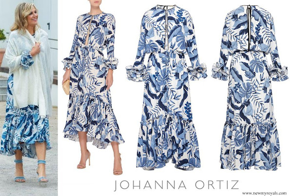 Queen Maxima wore Johanna Ortiz Royal Navy Crepe De Chine Dress