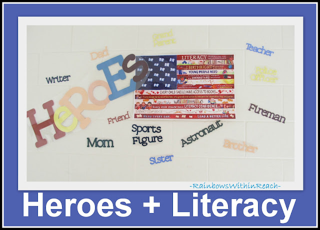photo of: American flag, literacy and heroes
