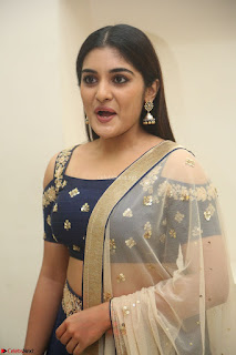 Niveda Thomas in Lovely Blue Cold Shoulder Ghagra Choli Transparent Chunni ~ Exclusive Celebrities Galleries 009