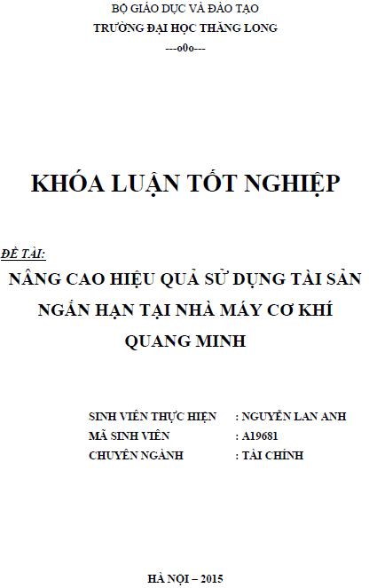 Nâng cao hiệu quả sử dụng tài sản ngắn hạn tại Nhà máy Cơ khí Quang Minh