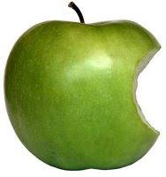 Foto de una manzana con una sola mordida