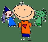 niño que juega con marionetas de dragón y princesa
