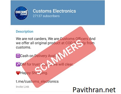 Customs Electronics Telegram Channnel is a Scam,Fraud!Don't Fall a