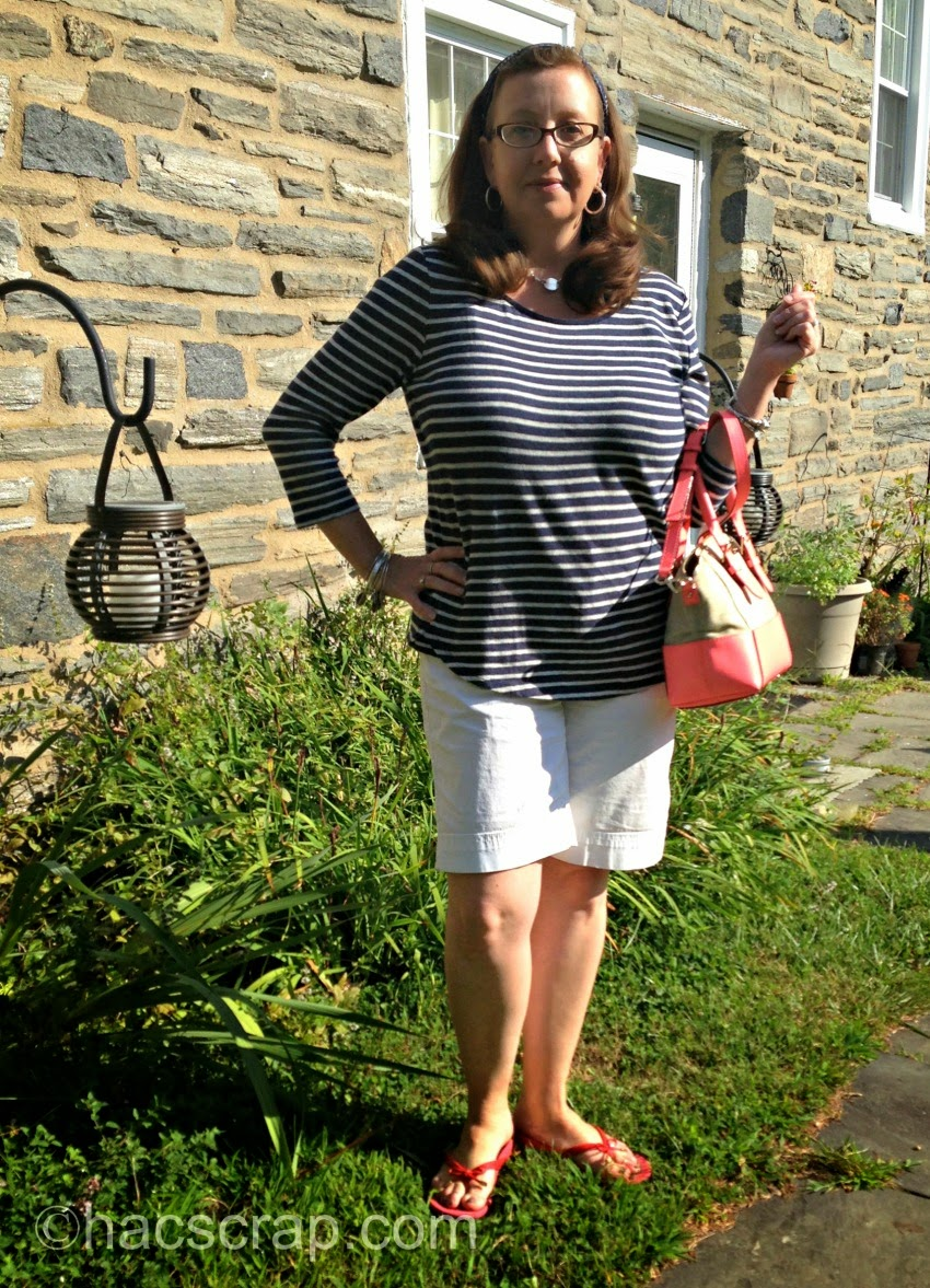 Transitional Outfit - Striped T and White Shorts | Mid-Life Mom Style