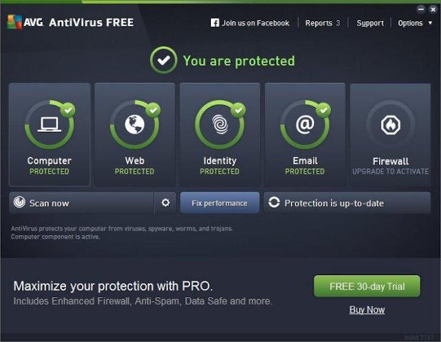 الواجهة الرئيسية لبرنامج  مكافحة الفيروسات AVG Antivirus Free