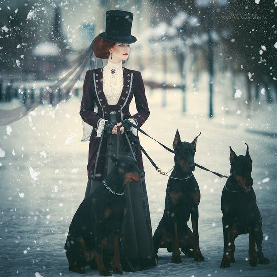 Woman dressed in Victorian clothing (top hat, blouse, jacket, skirt) with doberman dogs in the snow. Women's neo-victorian fashion and clothing inspiration