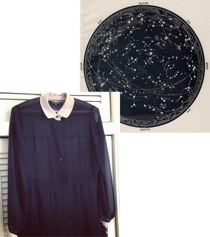 dress, stars, constellations, universe, inspiration