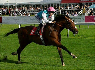 The champion racehorse Frankel in action at Doncaster