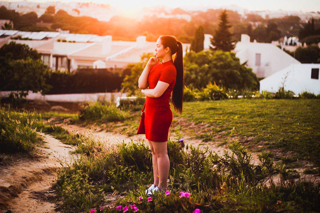 Albufeira, Portugal | Bershka Red Dress