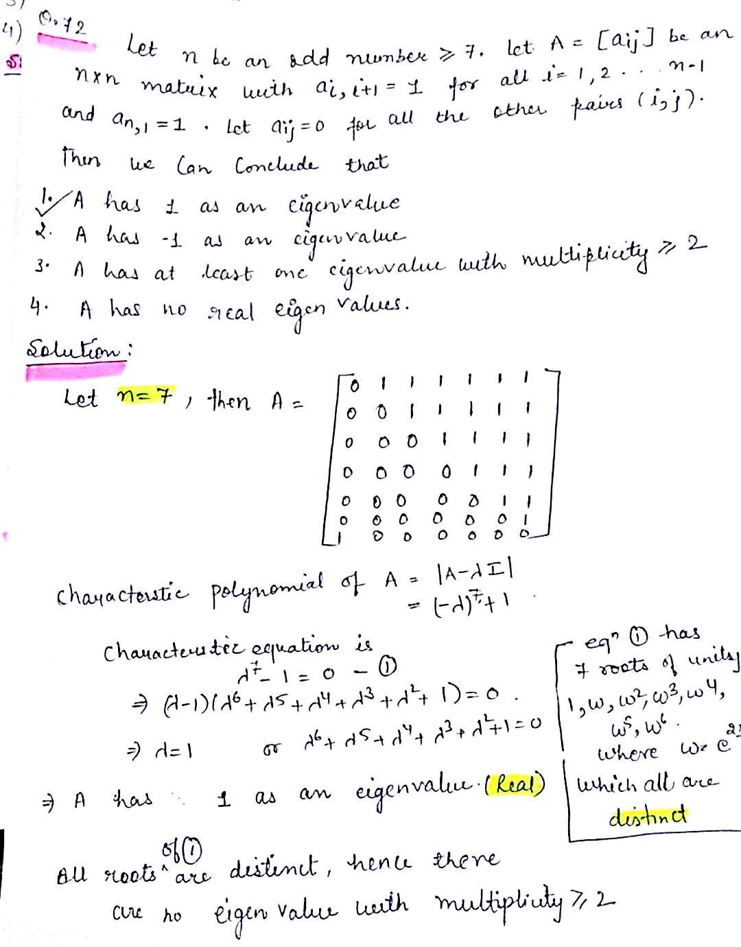 CSIR Net Mathematics Solutions : Dec 2016 , Ques No  72
