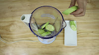 ut all the cucumber that you've cut into the blender