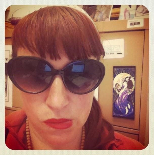 Bridget Eileen wearing bargain hunter one dollar 60s mod style sunglasses