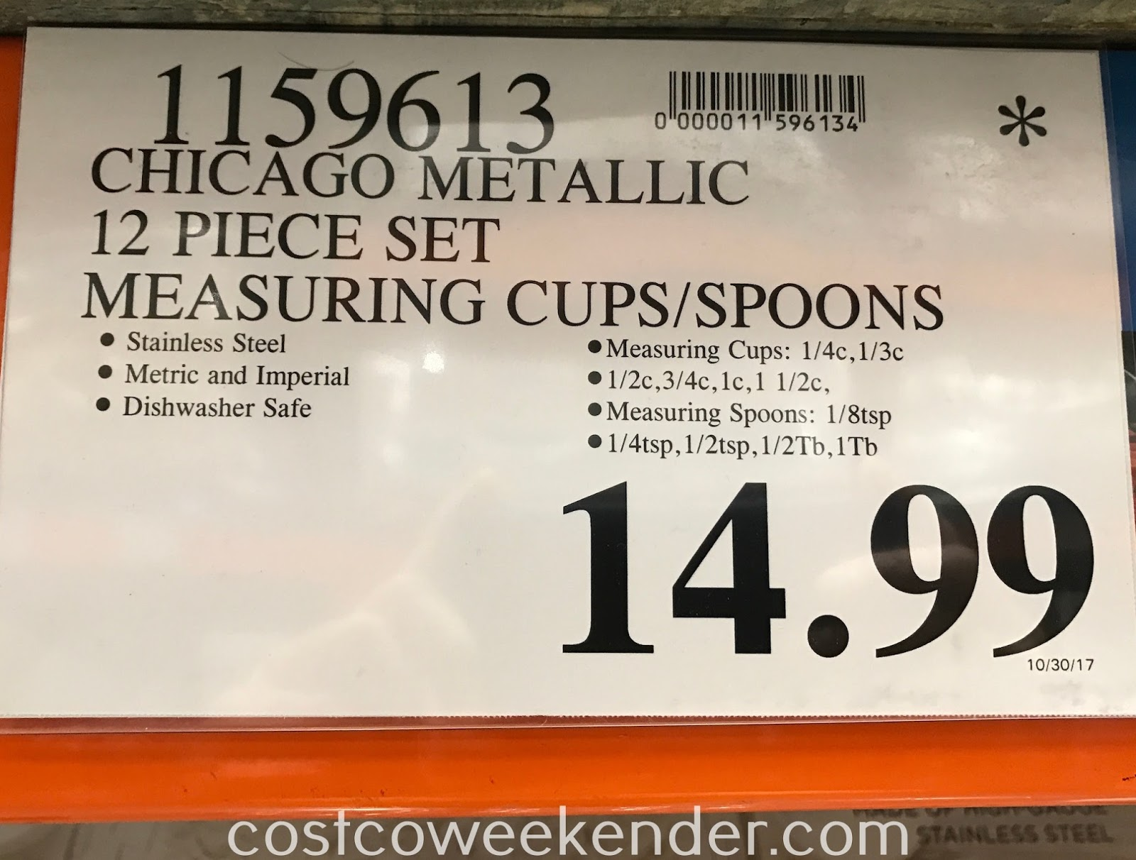Deal for the Chicago Metallic Measuring Cups and Spoons 12-piece set at Costco