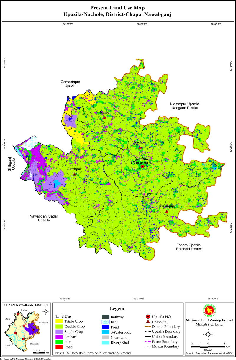 Nachole Upazila Mouza Map Nawabganj District Bangladesh