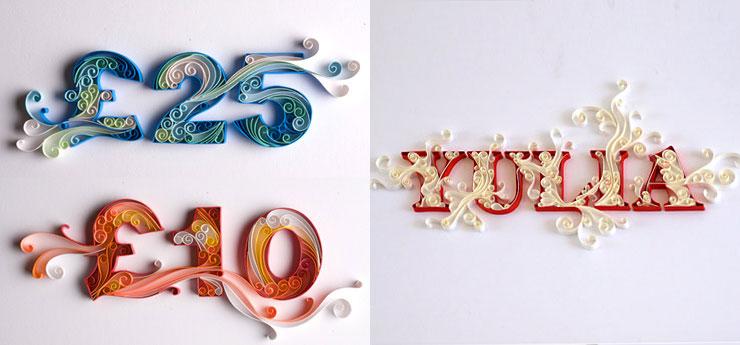 Tipografia con papel de colores