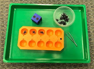Fine Motor Spiders in Pumpkin Ice Tray (10 frame), counting, one-to-one correspondence, adding on